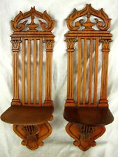CARVED WOOD SHELF BRACKETS *MUSICAL THEME* FRENCH EMPIRE STYLE c.1940'S