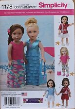 """18"""" GIRL DOLL CLOTHES Simplicity Sewing Pattern 1178 American Made NEW Uncut"""