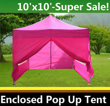 10'x10' Enclosed Pop Up Canopy Party Folding Tent Gazebo - Pink - E Model