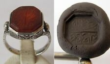 ANTIQUE AMAZING OTTOMAN SILVER CARNELIAN INTAGLIO GEM PERSONAL SEAL RING # 676