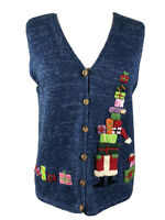 Northern Isles Sweater Vest Small Petite Blue Christmas Button Up Embroidered