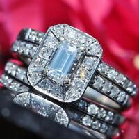 14k white gold wedding ring set 2.00ct FVVS diamond size 5 vintage 5.7g scr2253