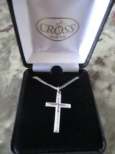 "Cross necklace pendant w/cross overlay-silver plated-20"" chain-1st comm/conf-NIB"