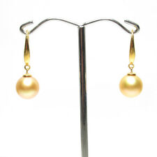 Flawless South Sea Pearl Earrings, 9.3mm Natural Pearls, 18k gold, Cultured