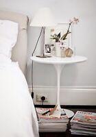 Coffee Table Coffee White Diameter 50 cm Saarinen Tulip Polished Bedside Table