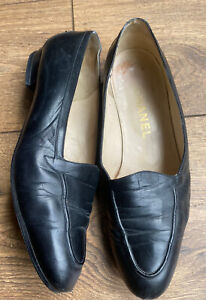 Vtg Well Used 1980s Chanel Dark Midnight Blue Loafers Flats 5 38