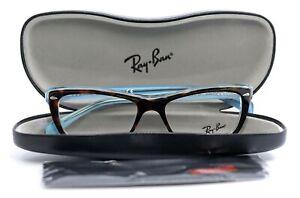 Ray-Ban RB 5255 5023 Havana/Blue Cat Eye Womens Full Rim Eyeglasses 51-16-135