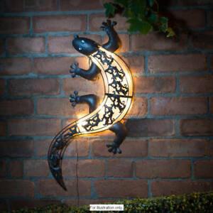 Outdoor Metal Solar Powered Ultra Bright LED Light Gecko Garden Deco Wall Art111