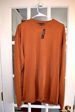 Milano Moda Men's Casual L/S Shirt Brown/Rust Size XXL 80% Rayon NEW NWT