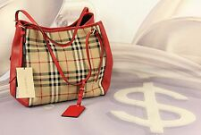 Burberry Horseferry Check Small Canterbury Panes Tote Red New MSRP $1150 #V3B