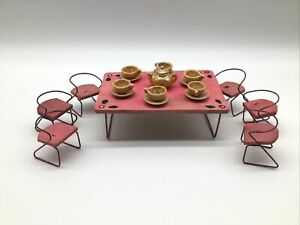 Doll House Vintage Handmade Pink Wood And Wire Patio Tea Table Chairs OOAK