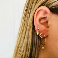 4PCS Women Gold Plated Round Circle Hoop Earrings Crystal Moon Star Stud Jewelry