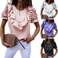 Women's Ladies Frill Ruffle Short Sleeve Summer Tee T-Shirt Loose Blouse Tops UK