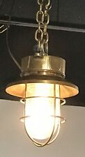 VINTAGE BRASS HANGING BULKHEAD LIGHT WITH SHADE & CHAIN - RESTORED & REWIRED