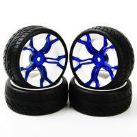 4Pcs Run flat Tires&Blue Wheel 12mm Hex For HSP HPI 1:10 RC  On Road Racing Car