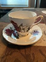 Royal Sutherland China Tea Cup & Saucer Red Roses Staffordshire England