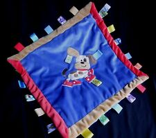 TAGGIES Puppy Dog Blue Red Tan Square Lovey Blanket Sneakers Shoes Satin Back