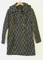 NWT Piperlime Collection Black/Off-White Mediumweight Poly Wool Blend Coat Sz M