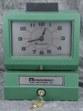 Acroprint 125NR4 Manual Print Time Clock W/Keys & New Extra Ink Roll!!