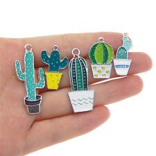 Pack of 5 Nice Enamel Metal Cactus Plants Charms Multi-style Pendants Findings