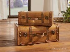 Koffer Vintage Holz Dekoration Kolonial Truhe Riemen Griffe Set 2 Stück 42/35 cm