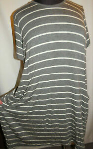 Trendyland gray/white stripe knee length dress,short sleeve,pockets,Plus size 3X