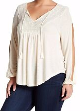 Jessica Simpson Casual Cute Antique White Embroidered Blouse,Long sleeve-Size 2X