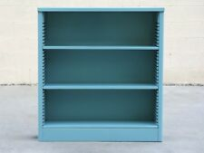 1960s Steel Tanker Style Bookcase Refinished in Turquoise