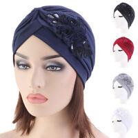 Women Ladies Indian Turban Muslim Hat Hair Loss Cap Sequins Headscarf Chemo Hat