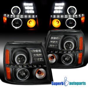 For 2002-2006 Cadillac Escalade Halo Projector Headlights Lamps Black