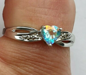 9ct White Gold Heart MysticTopaz & Diamond Ring Size N 1/2 US 7 Mint No Reserve