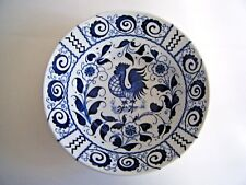 """Johnson Brothers Blue & White Chanticleer Rooster Serving Salad Bowl 8.75"""""""