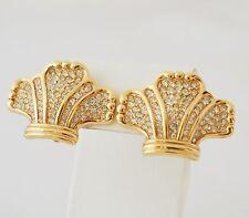 Vintage bijoux haute couture superbe Gold Swarovski Boucles d'oreilles marqué NEUFS