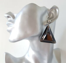Gorgeous 5cm long silver tone & black geometric acrylic drop earrings  #m32