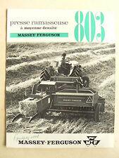 Prospectus Presse MASSEY FERGUSON 803 1961 MF tractor traktor brochure tracteur