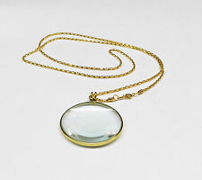 """MAGNIFIER 5X NECKLACE GLASS LENS 1-3/4"""" ROUND GOLD FRAME & CHAIN STYLE CLASSIC"""
