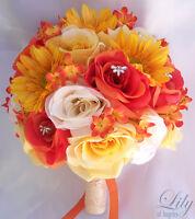 17pcs Wedding Bridal Bouquet Set Decoration Package Silk Flowers ORANGE YELLOW