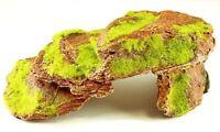 Brown Rock with Green Moss, Artificial Aquarium Fish Tank Ornament Decoration