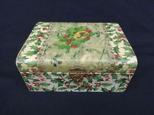 ANTIQUE VICTORIAN CELLULOID SEWING VANITY MANICURE DRESSER BOX CHRISTMAS HOLLY