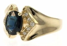 Ladies Genuine Blue Sapphire and Diamond Ring in 14 kt Yellow Gold