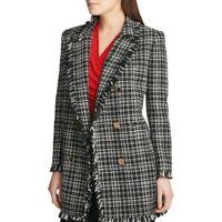 DKNY NEW Women's Black White Plaid Tweed Fringe Trim Topper Jacket Top 10 TEDO