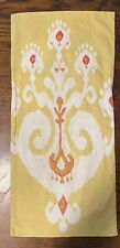 "Pottery Barn Lumbar Pillow Cover Yellow Ikat 12"" X 24"" Cotton/Linen"