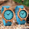 Minimalist Natural Wood Quartz Wrist Watch for Men Women Blue Leather Band Gift