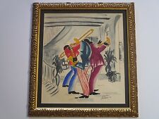 VINTAGE NEW ORLEANS PAINTING MODERNISM AFRICAN AMERICAN JAZZ BAND SIGNED ROJAS