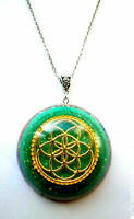 necklace Orgone Orgonite pendant Mandala Flower of Life, Red Agate, Aventurine,