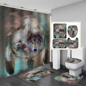 DreamCatcher Wolf Shower Curtain Bath Mat Toilet Cover Rug Bathroom Decor