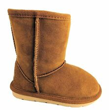 Chipmunks Jersey Infant Kids UK 10 Brown Suede Zip Up Warm Fur Lined Cosy Boots