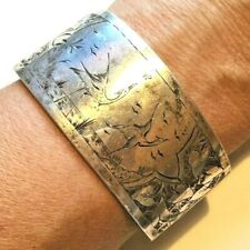 bracelet Sterling Silver Aesthetic period Antique Victorian Crane Bird scene