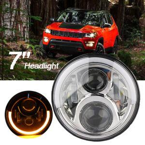 "7"" 50W LED Projector Headlight Bulb Halo Angel Eye DRL For Harley Jeep Wrangler"