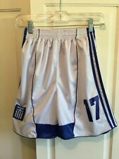ADIDAS Unisex Teen Soccer Shorts Clima Cool  Size M White And Blue Polyester